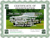 1970 Chevelle LS5 Certificate of Registration